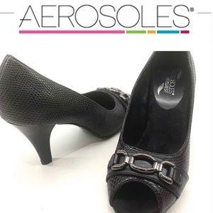 🔥 Aerosoles Good Lux black peep toe heels 7.5